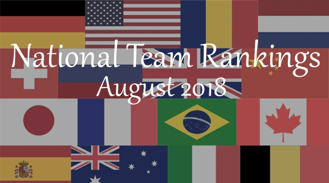 National Team Rankings – August 2018