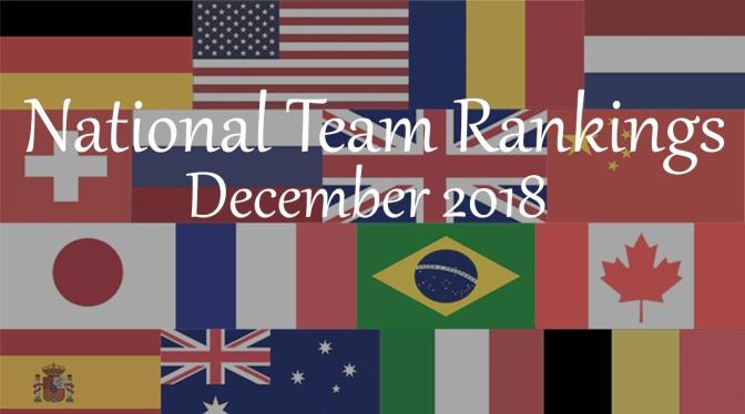 National Team Rankings – December 2018