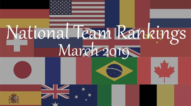 National Team Rankings –March 2019